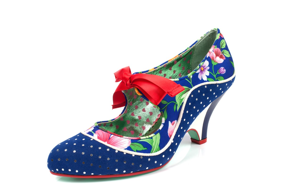 4e297e48d11 Poetic Licence School s Out Navy Floral Polka Dot High Heel Shoes - KissShoe