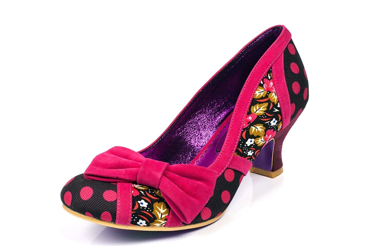 Poetic Licence Shake It Black Pink Polka Dot Floral Mid Heel Bow Court Shoes