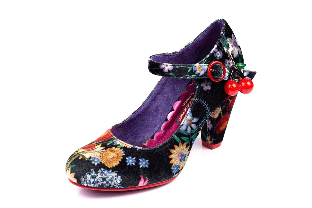 Poetic Licence The Right Stripes Black Floral Velvet High Heel Mary Jane Shoes