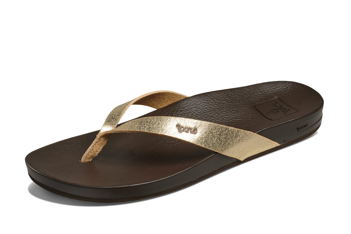 Reef Cushion Bounce Court Champagne Gold Dark Brown Comfort Flip Flops