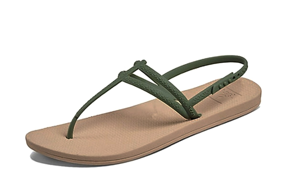 Reef Escape Lux T Strap Olive Green Flat Comfort Sandals