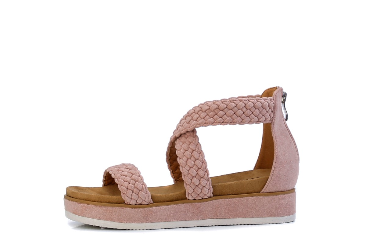 Refresh 69509 Nude Pink Plaited Faux Suede Flatform Sandals