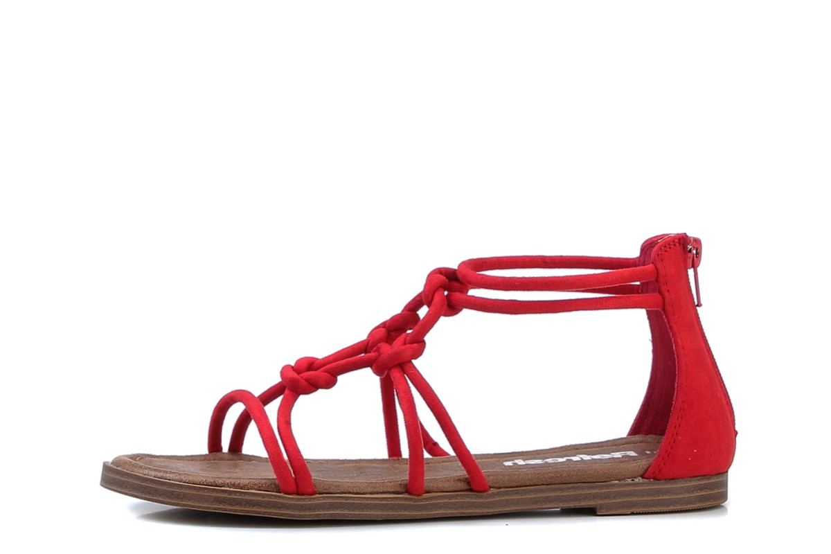 Refresh 69633 Red Knotted Flat Strappy Sandals