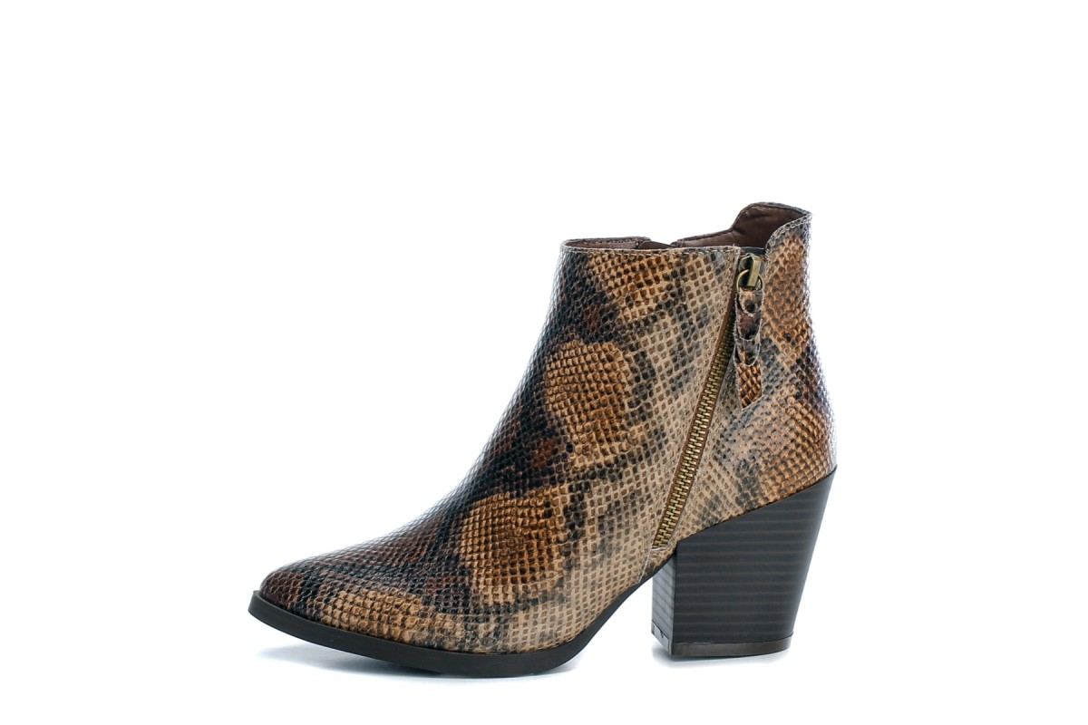 Refresh Camel Brown Faux Snakeskin Block Heel Ankle Boots 69185