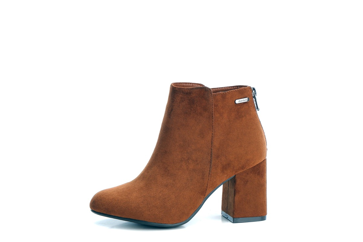 Refresh Camel Brown Faux Suede Block Heel Ankle Boots 69286