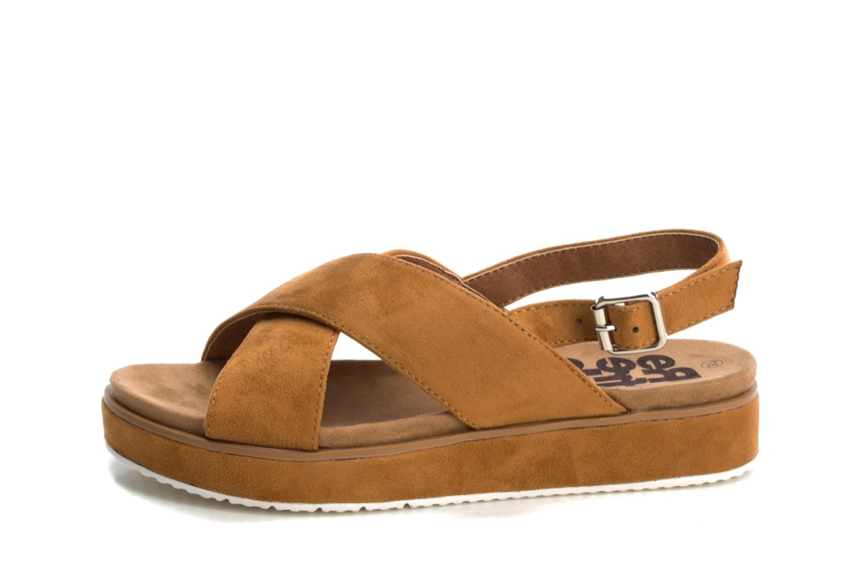 Refresh Camel Faux Suede Cross Strap Open Toe Flat Platform Sandals 69834