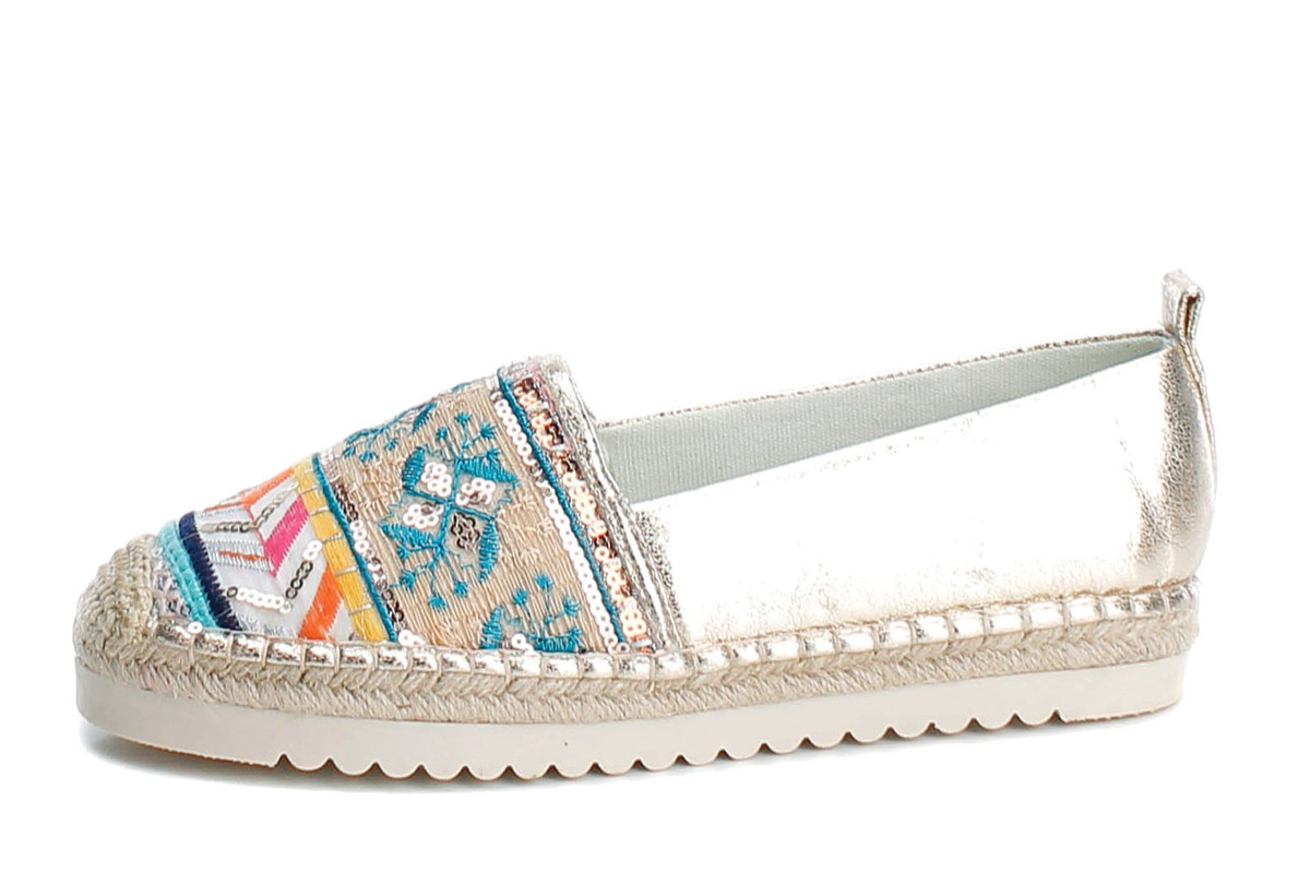 Refresh Gold Metallic Sequin Embroidered Flat Espadrille Shoes 69777