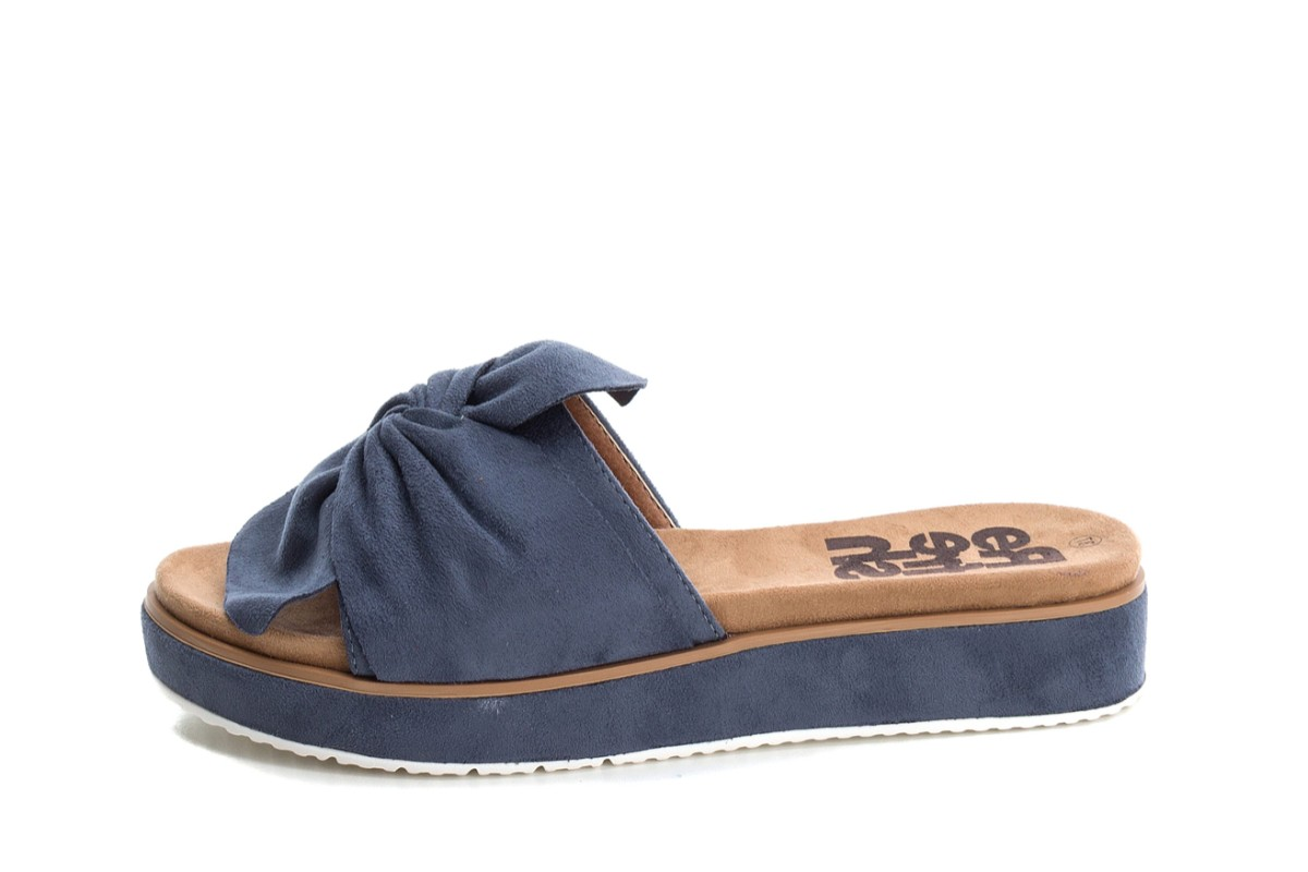 Refresh Jeans Blue Faux Suede Platform Flat Slide Sandals 69833