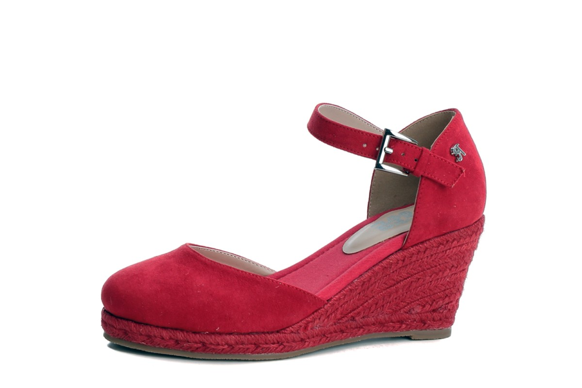 Refresh Red High Heel Wedge Espadrille Shoes 69730
