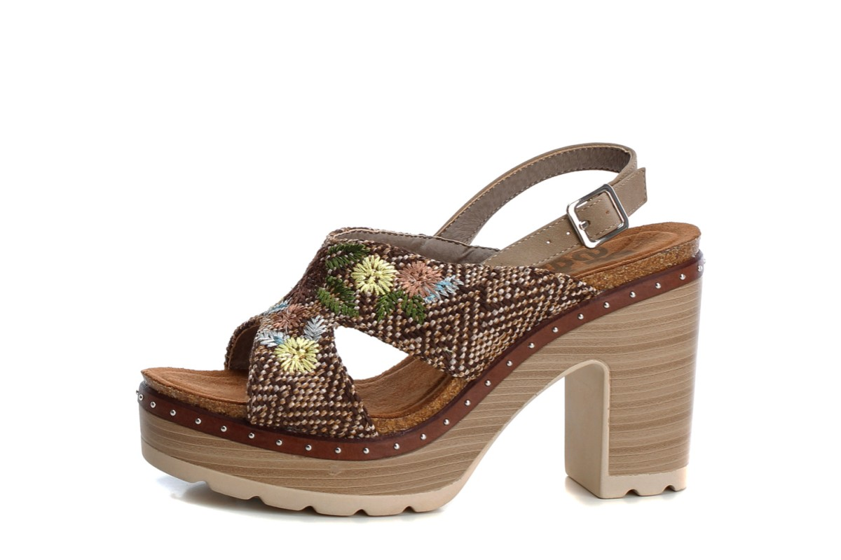 Refresh Taupe Floral Embroidered Open Toe High Heel Platform Sandals 69813