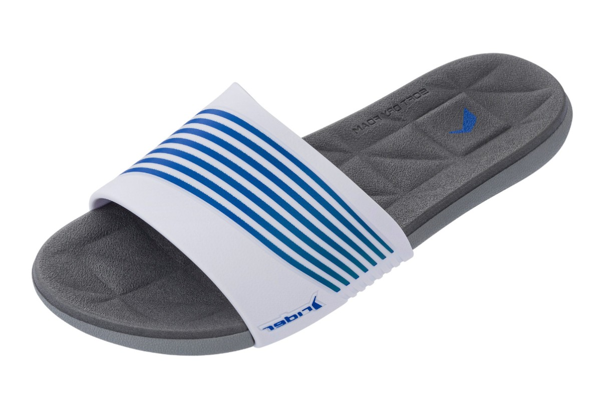 Rider Resort White Navy Stripe Comfort Slides Flat Sandals