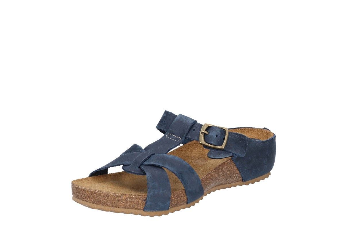 Riva Becky Navy Leather Low Wedge Heel Open Toe Sandals