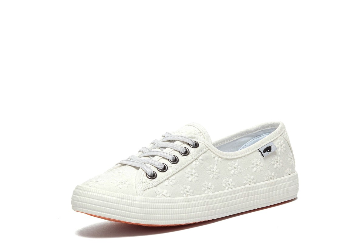 Rocket Dog Chow Chow Fortune Eyelet White Cotton Floral Low Top Trainers