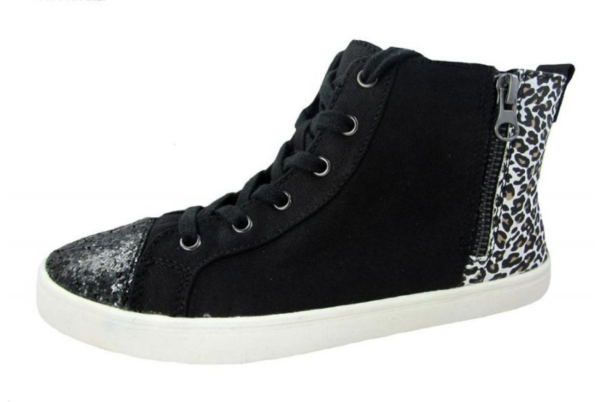 Rocket Dog Dean Black Jungle Jam Animal Print High Top Trainers