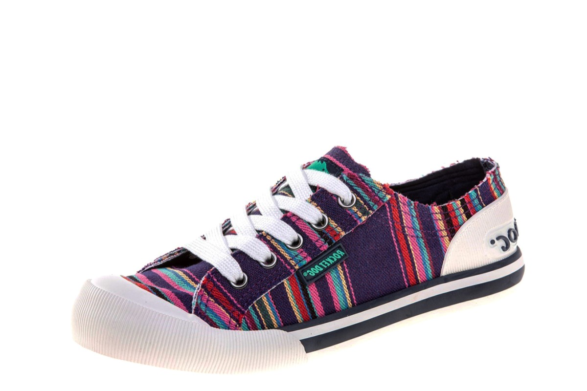 Rocket Dog Jazzin Aloe Cotton Purple Multi Stripe Canvas Low Top Trainers