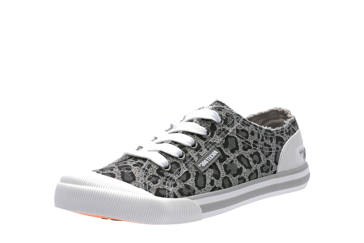 Rocket Dog Jazzin Bounce Grey Leopard Canvas Low Top Trainers