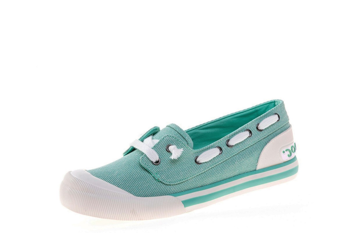 Rocket Dog Jazzin Jetty Salty Mint Pastel Green Canvas Slip On Trainers