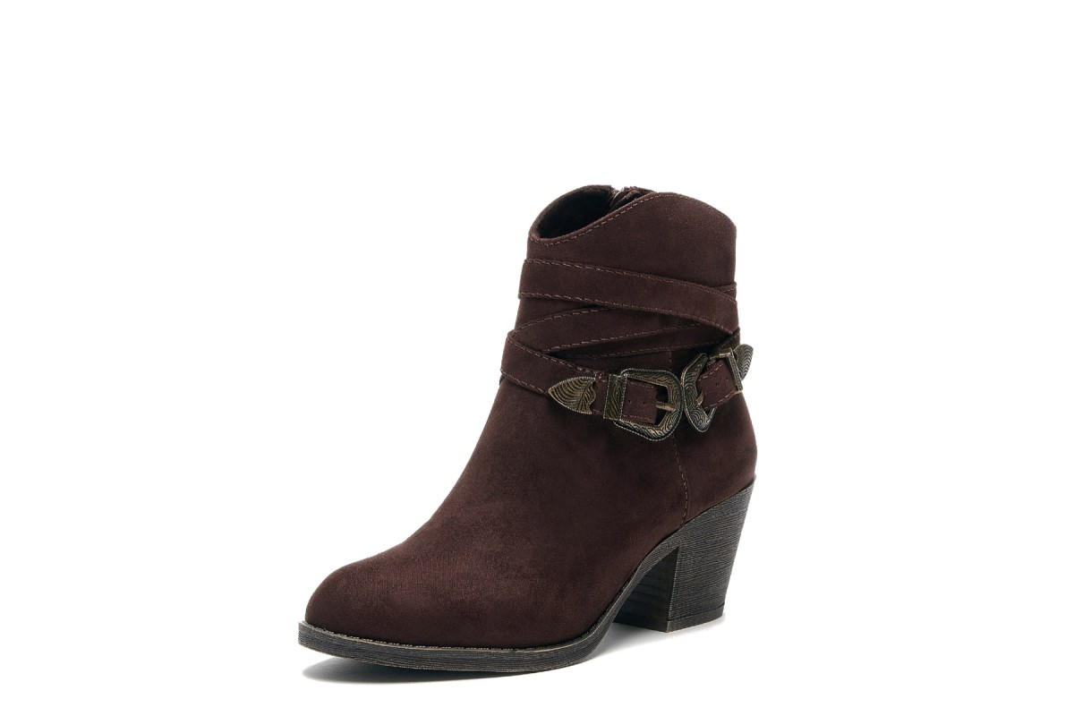 Rocket Dog Sadea Tribal Brown Coast Fabric Faux Suede Mid Block Heel Ankle Boots