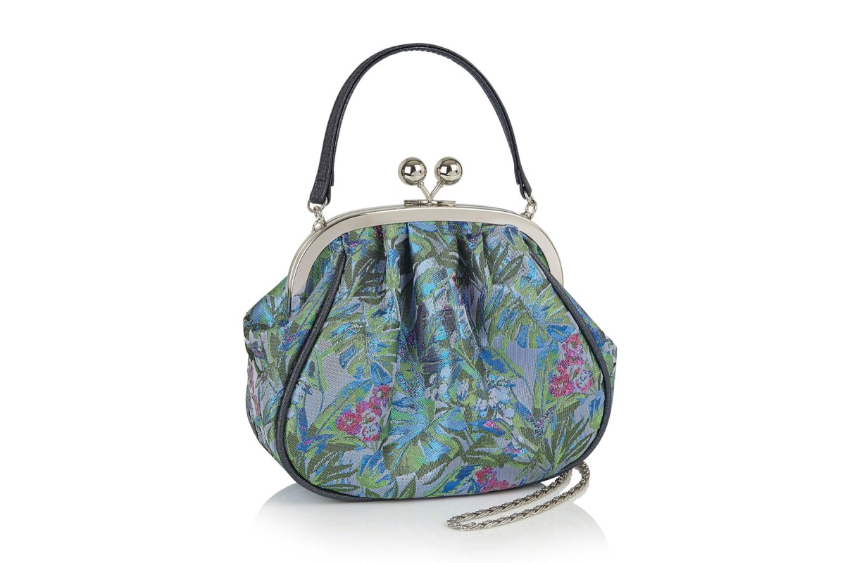 Ruby Shoo Arco Blue Green Floral Top Handle Clasp Bag