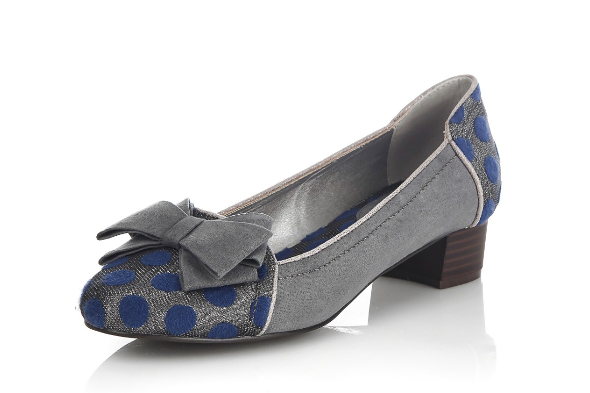 Ruby Shoo Aurora Grey Navy Polka Dot Mid Heel Court Shoes