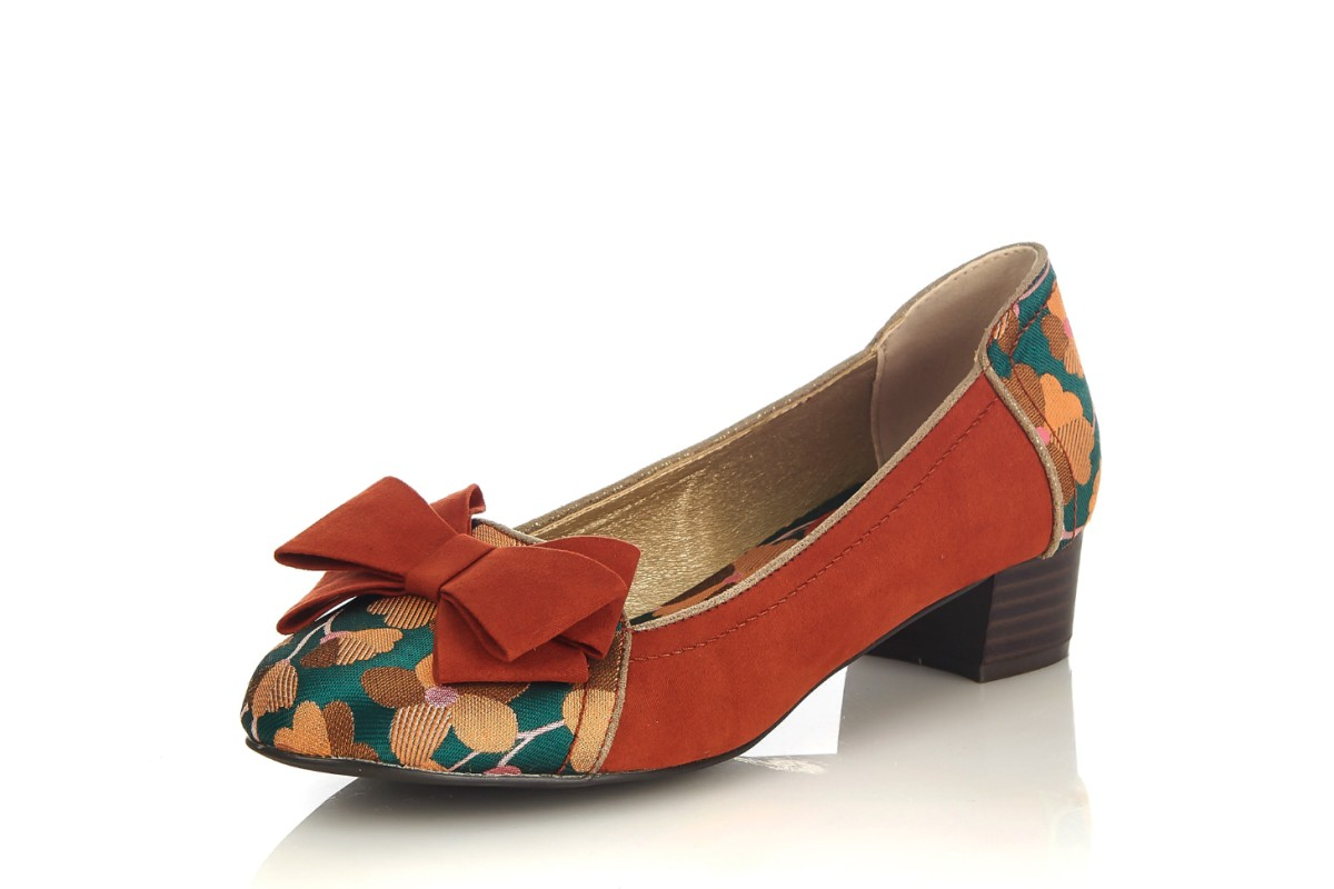 Ruby Shoo Aurora Russet Orange Green Floral Mid Heel Court Shoes