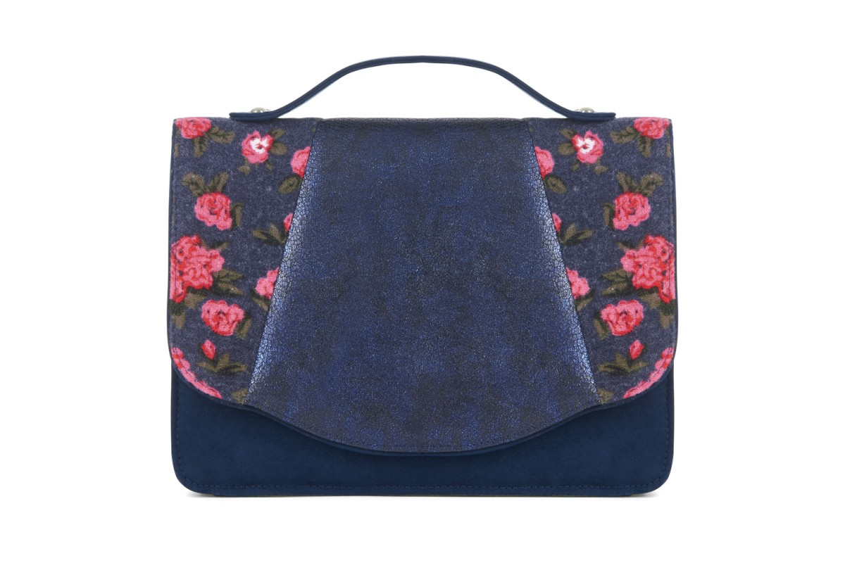 Ruby Shoo Belfast Blue Navy Pink Floral Shoulder Top Handle Bag