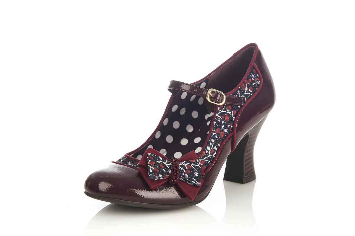 Ruby Shoo Camilla Burgundy Patent Floral High Heel Mary Janes Shoes