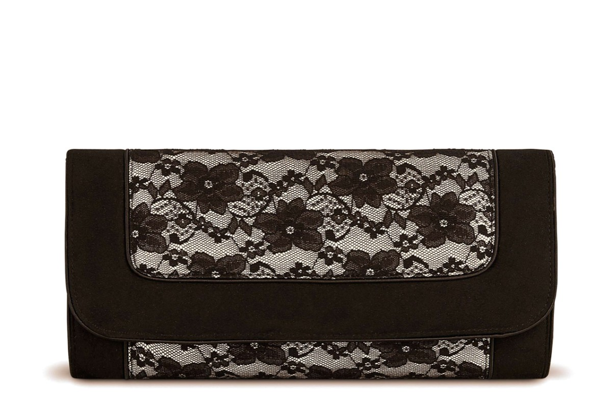 Ruby Shoo Charleston Black Floral Lace Clutch Shoulder Bag