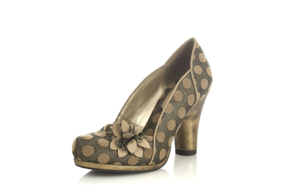 Ruby Shoo Charlie Gold Metallic Polka Dot High Heel Court Shoes