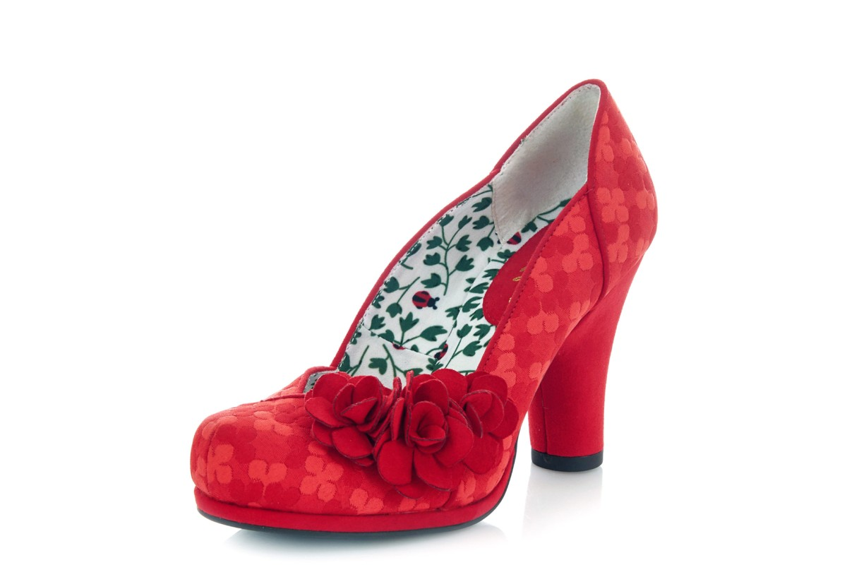 Ruby Shoo Charlotte Red Floral High Heel Court Shoes