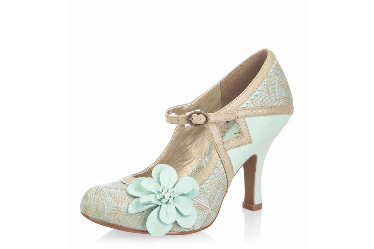 Ruby Shoo Cindy Mint Gold Flower Mary Jane High Heel Shoes