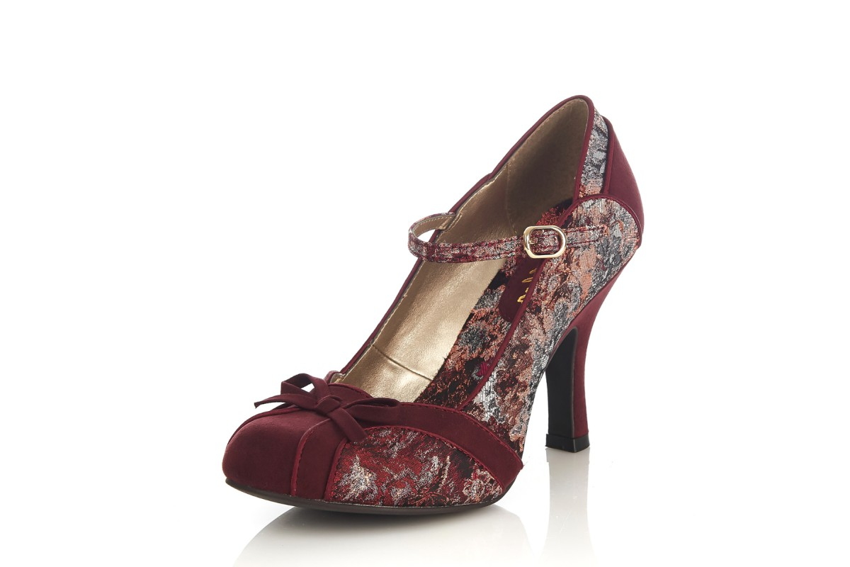 Ruby Shoo Cleo Burgundy Floral Jacquard High Heel Mary Jane Shoes
