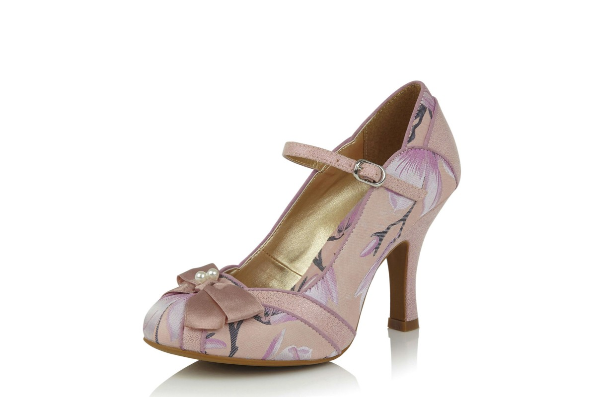 Ruby Shoo Cleo Pink Floral High Heel Mary Jane Shoes