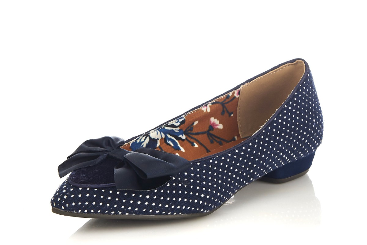 Ruby Shoo Cora Navy Polka Dot Pointed Toe Low Heel Ballet Shoes