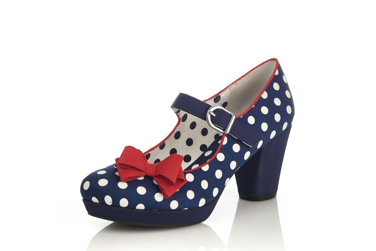 Ruby Shoo Crystal Navy Spots Polka Dot High Heel Platform Shoes