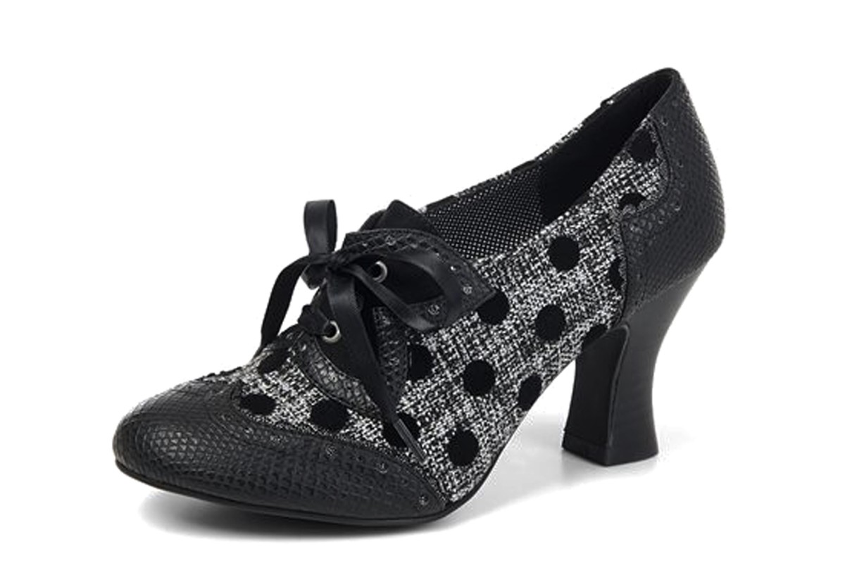 Ruby Shoo Daisy Black Spots Tweed High Heel Brogue Lace Up Shoes