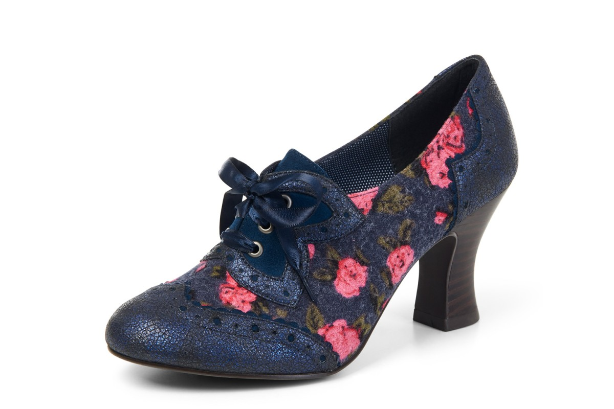 Ruby Shoo Daisy Blue Navy Floral High Heel Brogue Lace Up Shoes