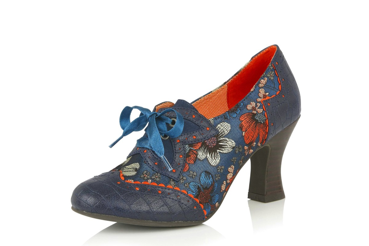 Ruby Shoo Daisy Cyan Turquoise Navy Blue Floral High Heel Lace Up Brogue Shoes