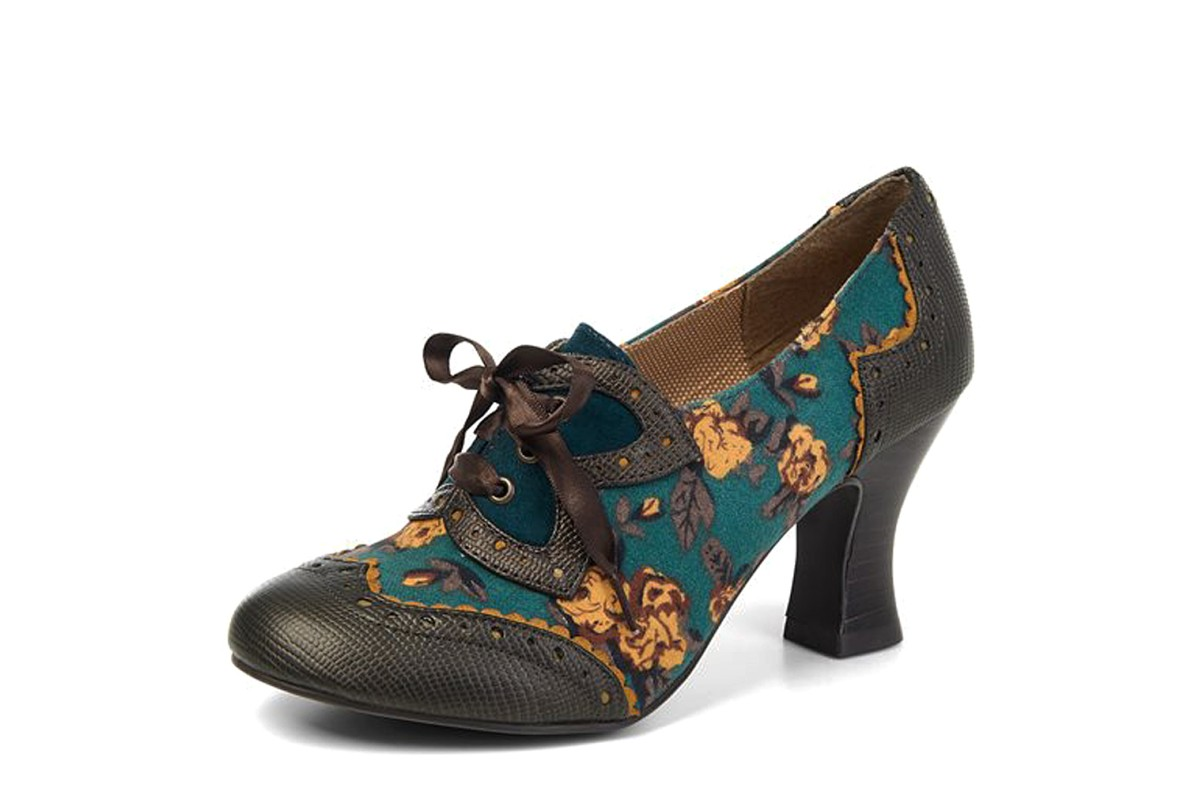 Ruby Shoo Daisy Olive Green Brown High Heel Brogue Lace Up Shoes