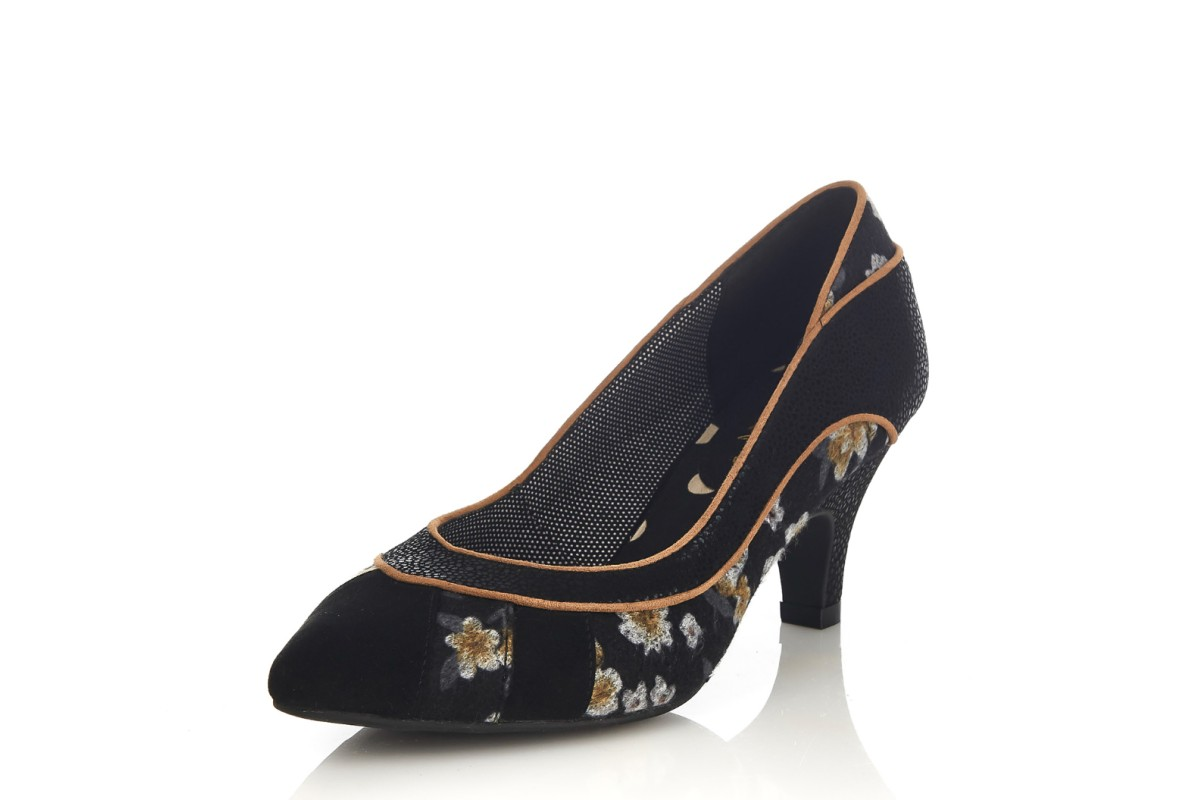 Ruby Shoo Daphne Black Yellow Floral Mid Heel Court Shoes