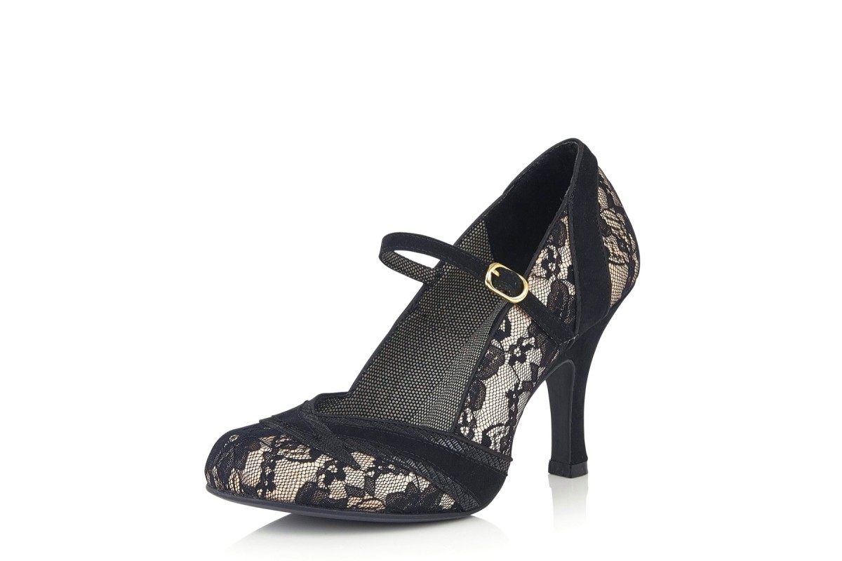 Ruby Shoo Delilah Black Lace High Heel Mary Jane Shoes