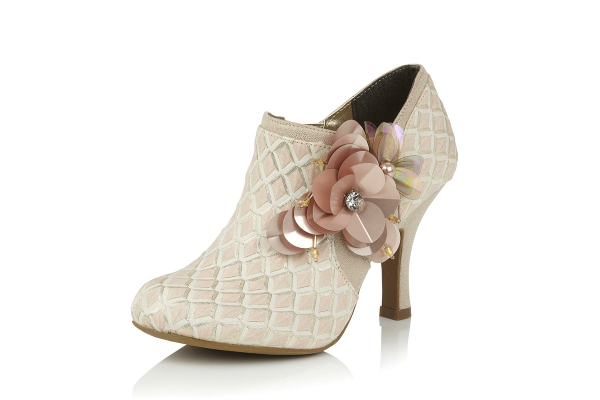 Ruby Shoo Electra Light Pink Cream High Heel Shoe Boots
