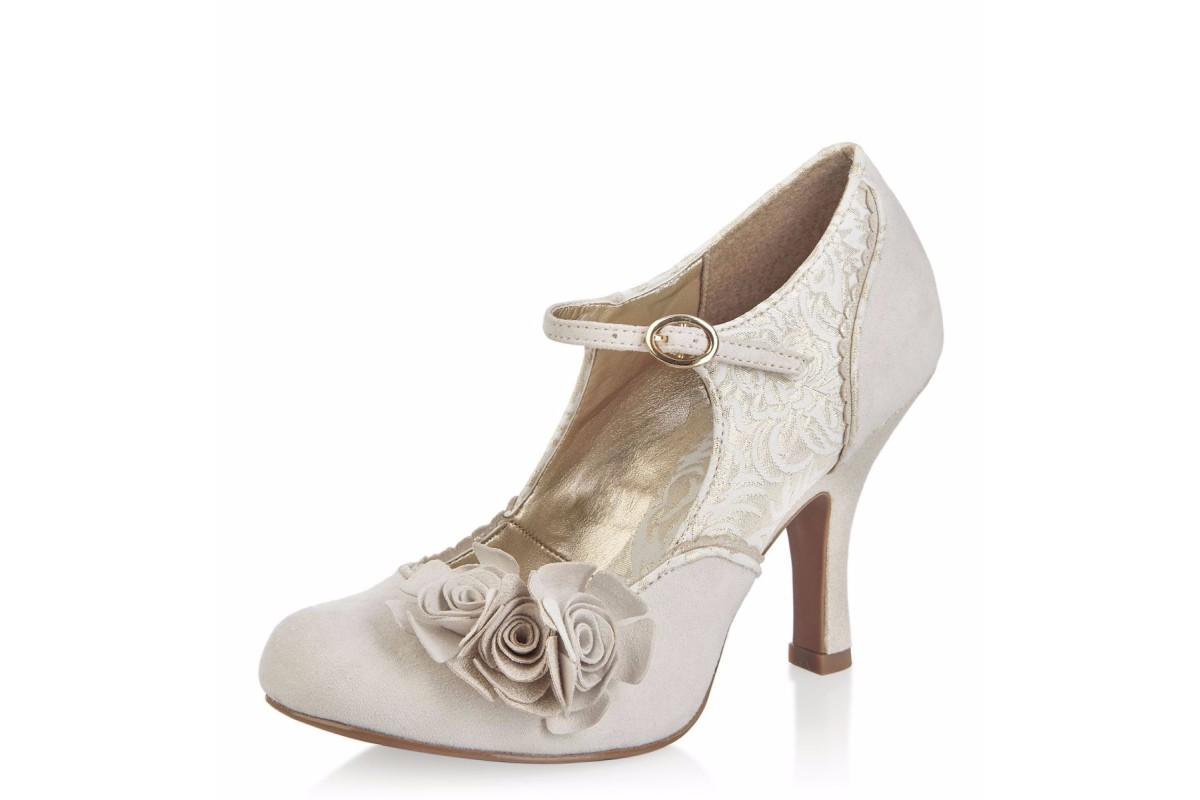 Ruby Shoo Emily Cream Gold Flower Mary Jane High Heel Shoes