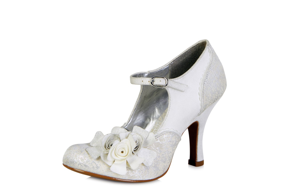 Ruby Shoo Emily Silver Grey Flower Mary Jane High Heel Shoes