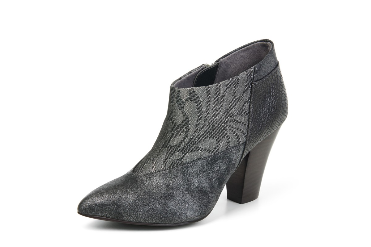 Ruby Shoo Erika Pewter Metallic Grey Floral High Heel Ankle Boots
