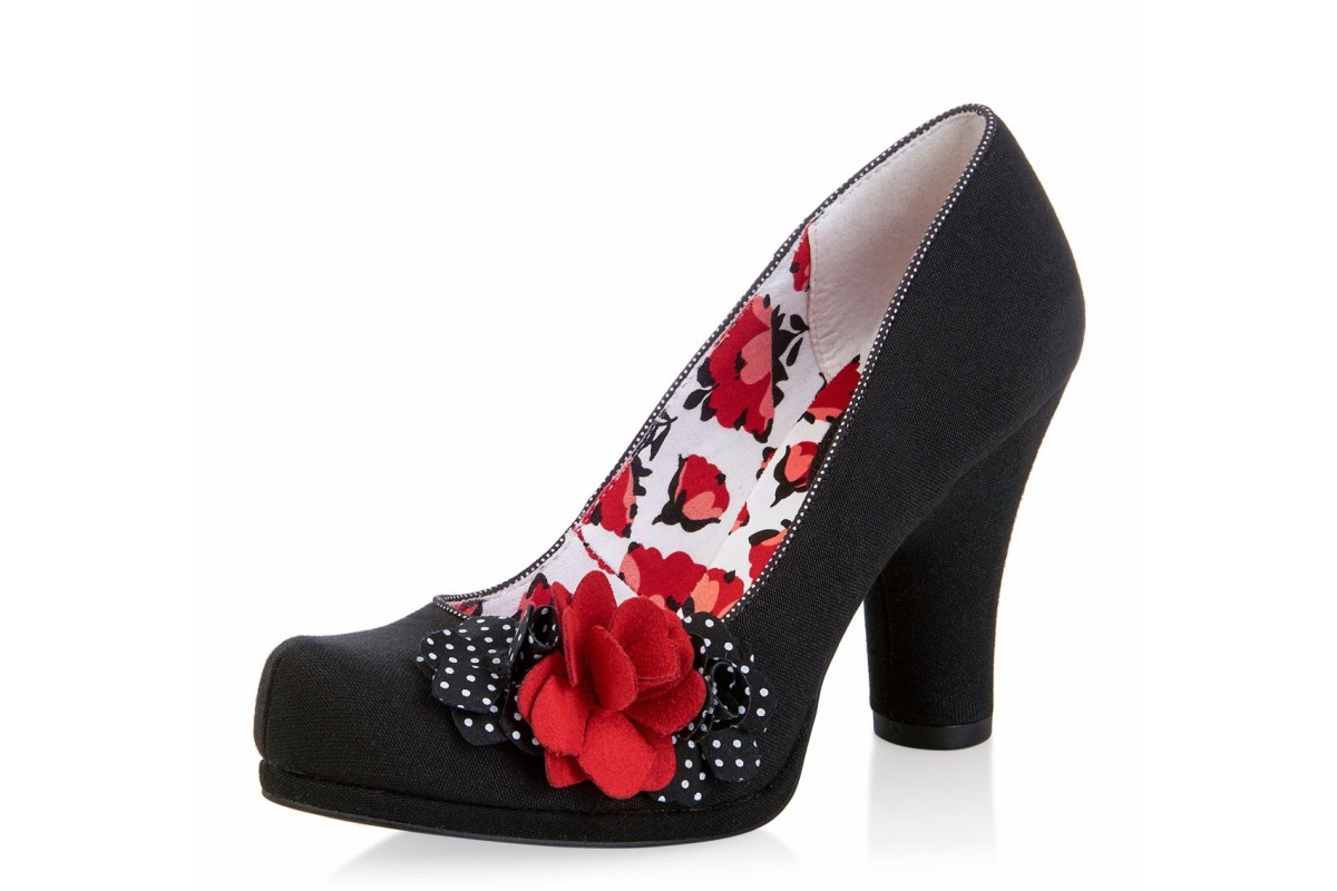 Ruby Shoo Eva Black Spots Red Flower High Heel Court Shoes