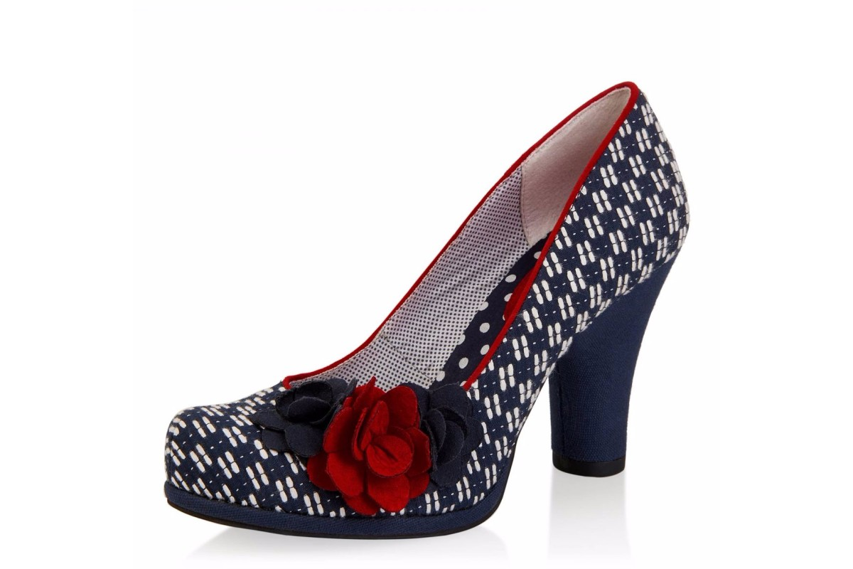 Ruby Shoo Eva Navy Red High Heel Flower Court Shoes