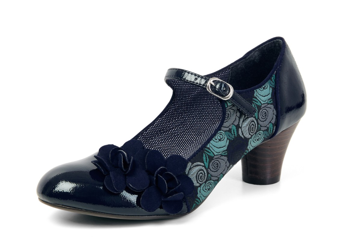 Ruby Shoo Freya Blue Navy Floral Mid Heel Mary Jane Shoes