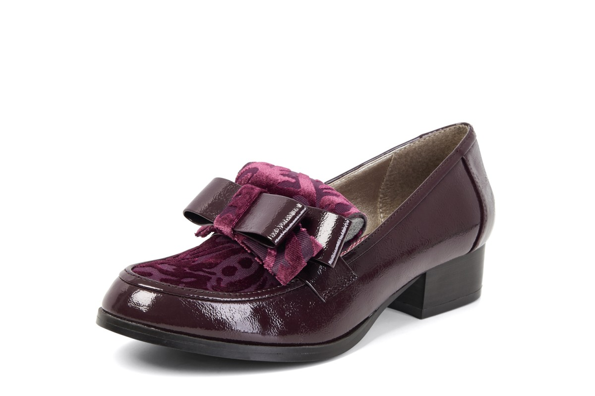 Ruby Shoo Gabriella Burgundy Patent Velvet Low Heel Loafer Shoes