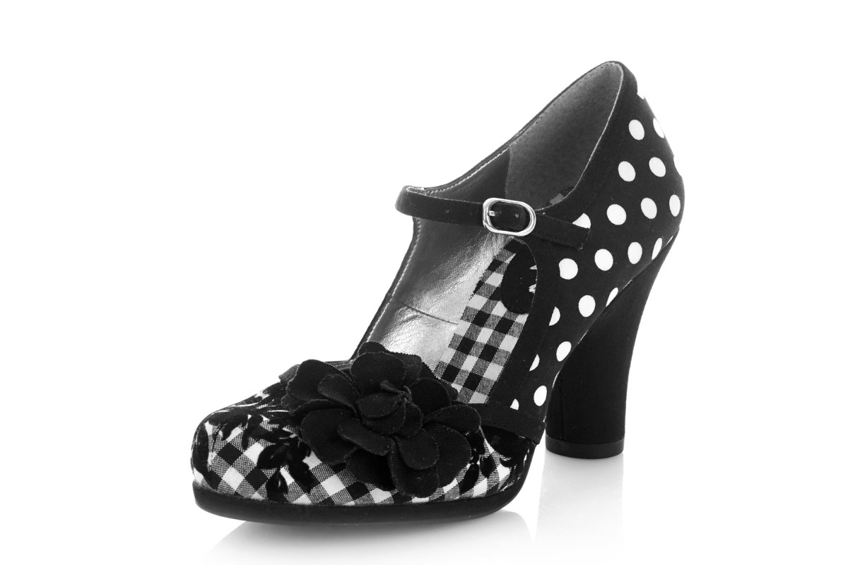 Ruby Shoo Hannah Black Spots Polka Dot High Heel Mary Jane Shoes